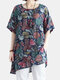 Women Vintage Print Loose Cotton And Lnen Short-sleeved T-shirt  - Colorful
