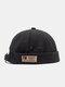 Unisex Cotton Solid Color Letter Fashion Outdoor Brimless Beanie Landlord Cap Skull Cap - Black
