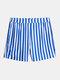 Mens Plain Striped Casual Drawstring Mid Length Swim Trunks - Blue