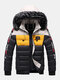 Mens Winter Thicken Tape Padded Fur Hooded Puffer Jacket Warm Down Coat - Black