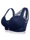 Deep Plunge Busty Lace Side Support Wireless Bras - Navy