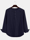 Plus Size Mens Solid Cotton Casual Long Sleeve Henley Shirts With Pocket - Navy