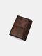 Men RFID Retro Genuine Leather Wallet Anti-theft Removable Old SIM Card Wallet - Coffee