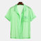 Mens Summer Solid Color Chest Pocket Breathable Short Sleeve Lightweight Sheer Shirts