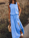 Solid Color Splited Sleeveless Casual Maxi Dress For Women - Light Blue