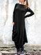 Casual Solid Color Pockets Side Slit Long Sleeve Dress - Black