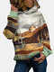 Landscape Print Long Sleeve Casual Hoodie For Women - Gray