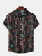 Mens Colored Chinese Character All Over Print Street Short Sleeve Shirts - Black