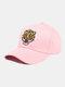 पुरुष कढ़ाई टाइगर पैटर्न बेसबॉल कैप आउटडोर सनशेड समायोज्य टोपी - गुलाबी