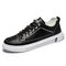 Men Brief Round Toe Hard Wearing Stitching Lace-up Daily Skate Shoes - Black