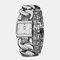 Simple Trendy Women Wristwatch Hollow Steel Band Square Dial Quartz Bracelet Watch - Silver