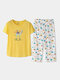 Women Cotton Pajamas Sets Letters Top With Floral Tropical Print Panty Sleepwear For Summer - Yellow