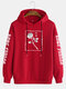 Mens Rose Graphic Character Sleeve Print Casual Drawstring Hoodies - Red
