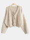 Solid Button Loose V-neck Long Sleeve Women Cardigan - Beige