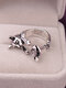 Vintage Animals-Shape Women Ring Cute Cat Eat Fish Ring Jewelry Gift - #05