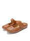 Women Comfy Round Toe Hollow Hook Loop Backless Flats - Brown