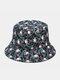 Unisex Cotton Overlay Cartoon Skull Flower Print Double-sided Wearable Fashion Sunscreen Bucket Hat - #04