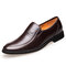 Men Microfiber Leather Breathable Slip-on Business Casual Dress Shoes - Brown