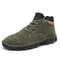 Men Hand Stitching Outdoor Work Style Microfiber Leather Boots - Green