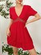 Backless Knotted Solid Color Short Sleeve Lace Deep V-neck Sexy Dress - Red