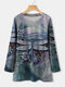 Dragonfly Printed Long Sleeve O-neck T-shirt For Women - Blue