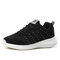 Women's Solid Color Casual Mesh Breathable Wearable Sneakers - Black