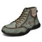 Men Genuine Leather Non Slip Elastic Panel Casual Ankle Boots - Green