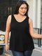 Backless Bowknot Sleeveless Plus Size Casual Tank Top - Black