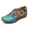 SOCOFY Folkways Floral Pattern Genuine Leather Splicing Jacquard Comfortable Zipper Flat Shoes