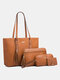 Simple and Fashionable All-match Travel Shopping Large-capacity Crossbody Handbag Four-piece Portable Son Mother Bag - Dark Brown