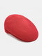 Unisex Dacron Knitted Solid Color Jacquard Breathable Casual Beret Flat Caps - Red