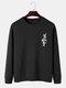 Mens Funny Gesture Chest Print Round Neck Casual Cotton Sweatshirts - Black