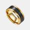 トレンディなスマート温度リングチタン鋼防水敏感温度ディスプレイカップルリング - ゴールド