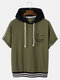 Designer Mens Smile Embroidery Patchwork Two Tone Drawstring Hooded Short Sleeve T-Shirt - Green