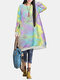 Tie-dyed Print Long Sleeve Casual Dress for Women - Yellow