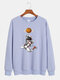 Mens Cartoon Astronaut Chest Print Solid Loose Daily Pullover Sweatshirts - Purple
