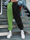 Contrast Color Elastic Waist Causal Sport Pant for Women - Green