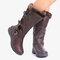 Women Winter Microfiber Warm Plush Zipper Snow Knee High Boots - Khaki