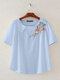 Vintage Floral Embroidery Short Sleeve Dish O-neck T-shirt - Blue