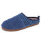 SOCOFY Solid Color Striped Household Cotton Slip On Indoor Flat Home Shoes Slippers - Dark Blue
