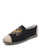 Men Linen Cloth Splicing Embroidery Pattern Slip On Fisherman's Shoes - Black