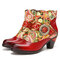 SOCOFY Retro Embossed Floral Splicing Genuine Leather Comfy Warm Lined Chunky Heel Ankle Boots - Red