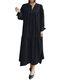 Solid Color V-neck Long Sleeve Plus Size Casual Dress - Black