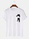 Mens Cartoon Cat Chest Print Cotton Casual Short Sleeve T-Shirts - White