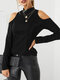 Solid Color Off Shoulder Long Sleeve Casual Blouse For Women - Black