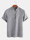 Men Soild Chinese Button V-neck Short Sleeve Henley Shirt - Grey
