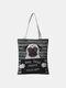 Women Canvas Cat Pattern Handbag Tote - #05