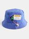 Unisex Cotton Drawstring Letter Pattern Label Solid Color Fashion Bucket Hat - Blue