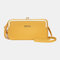 Women 8 Card Slots 6.5 Inch Phone Holder Solid Phone Bag Wallet - Yellow