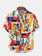 Mens Funny Graffiti Multi-Color Casual Breathable Light Short Sleeve Shirts - Yellow